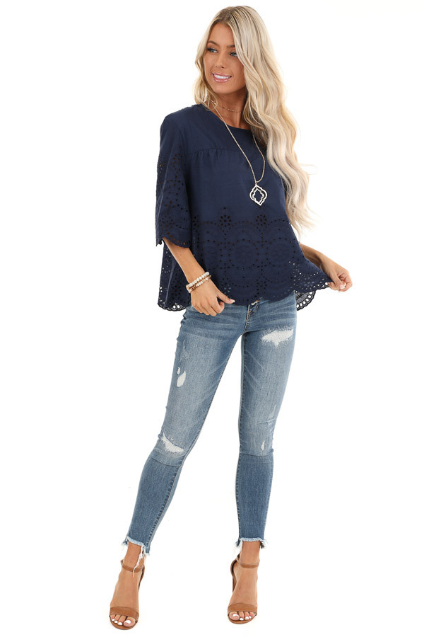 Navy Eyelet Lace 3/4 Bell Sleeve Top with Keyhole Detail front full body