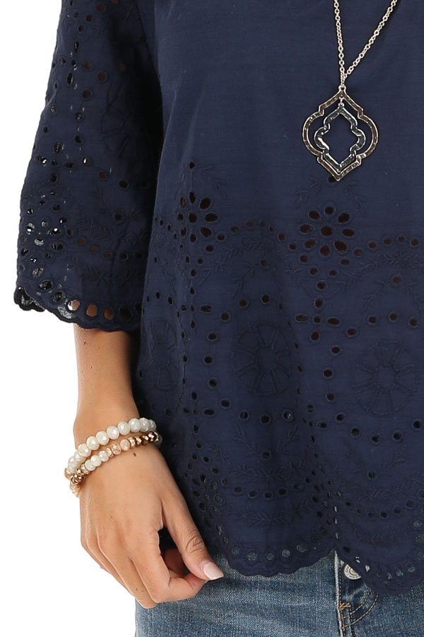 Navy Eyelet Lace 3/4 Bell Sleeve Top with Keyhole Detail detail