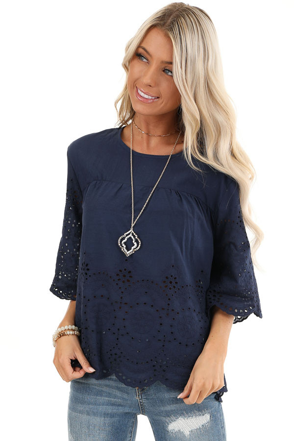 Navy Eyelet Lace 3/4 Bell Sleeve Top with Keyhole Detail front close up