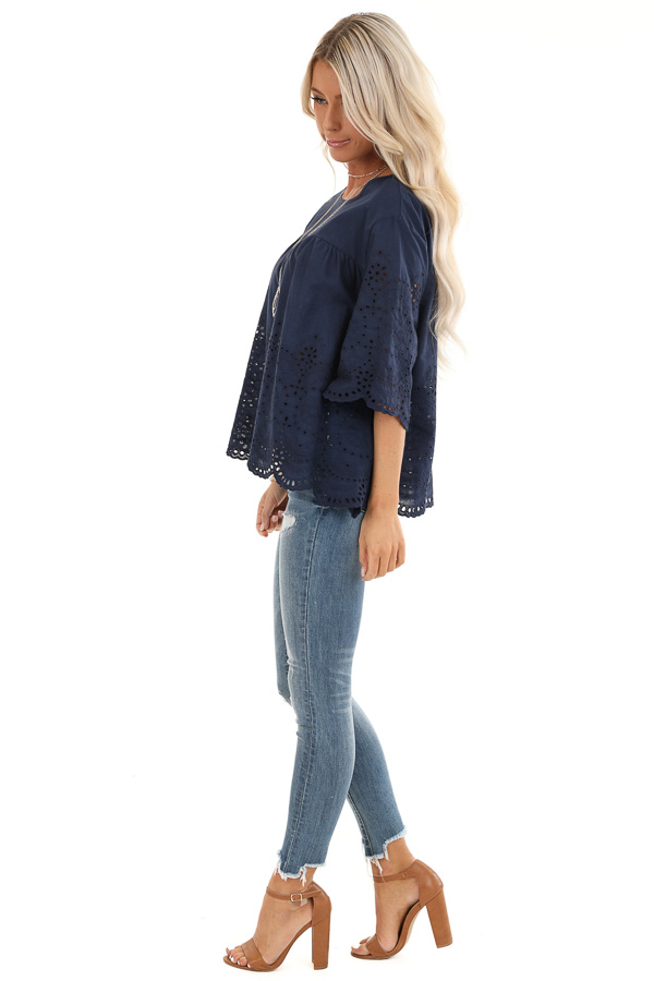 Navy Eyelet Lace 3/4 Bell Sleeve Top with Keyhole Detail side full body