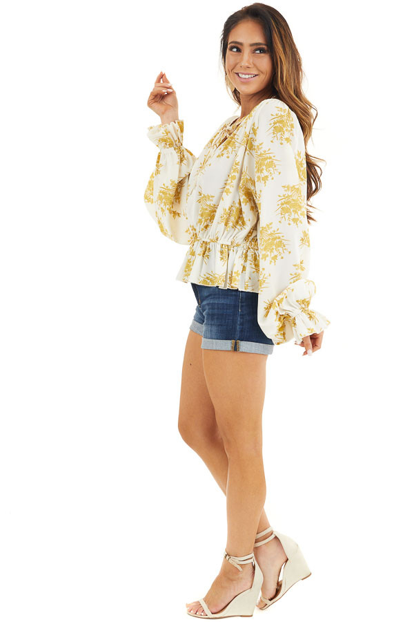 Gold and Ivory Floral Print Ruffled Long Sleeve Peasant Top side full body