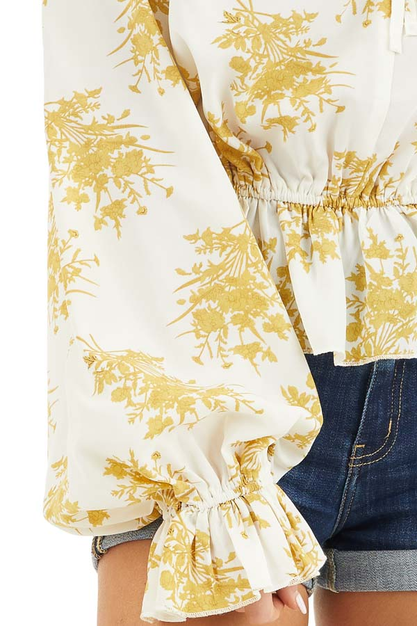 Gold and Ivory Floral Print Ruffled Long Sleeve Peasant Top detail