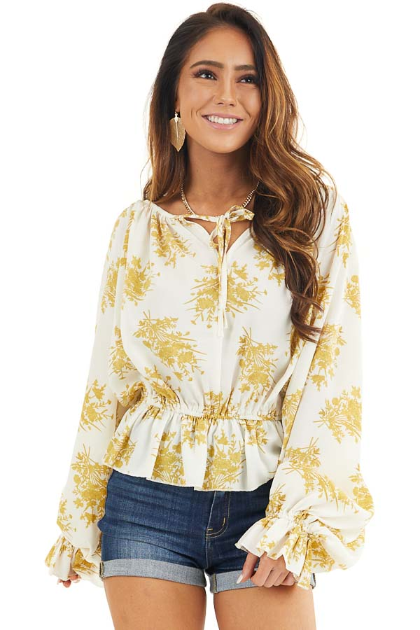 Gold and Ivory Floral Print Ruffled Long Sleeve Peasant Top front close up