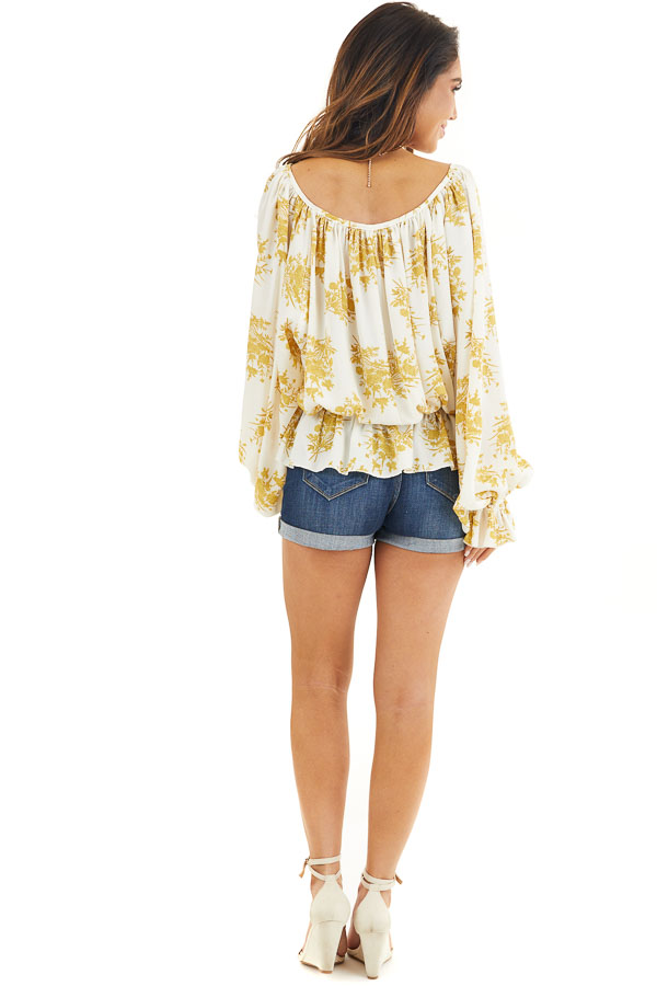 Gold and Ivory Floral Print Ruffled Long Sleeve Peasant Top back full body