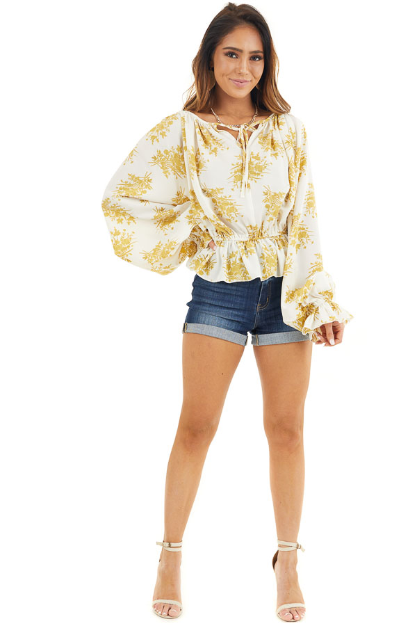 Gold and Ivory Floral Print Ruffled Long Sleeve Peasant Top front full body