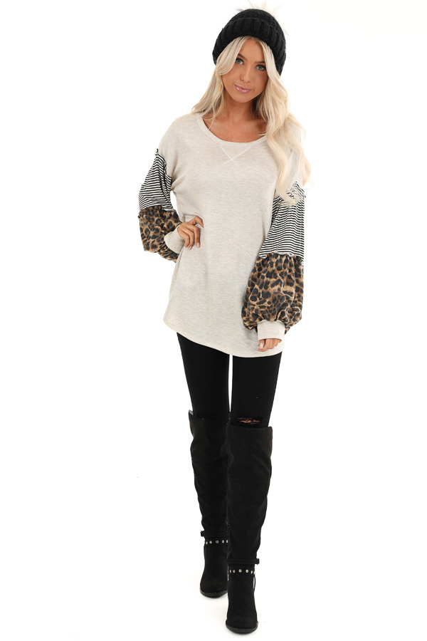 Oatmeal Top with Leopard and Striped Color Block Sleeves front full body
