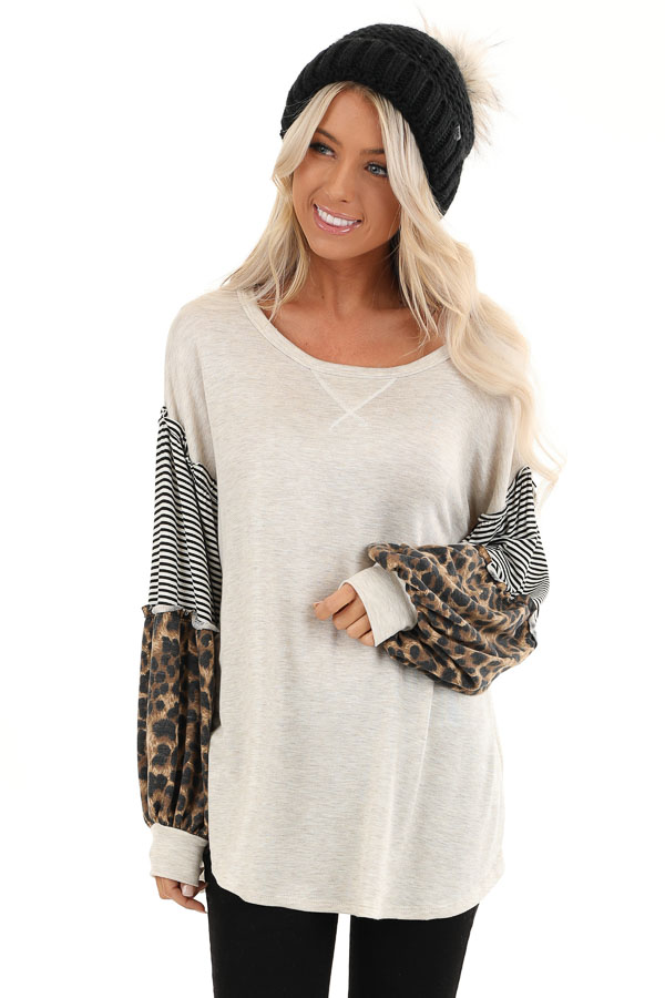 Oatmeal Top with Leopard and Striped Color Block Sleeves front close up