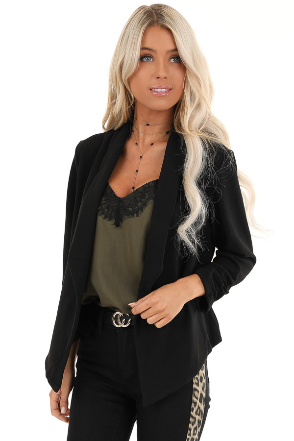 Black Textured Open Front Blazer Jacket with Ruched Sleeves front close up