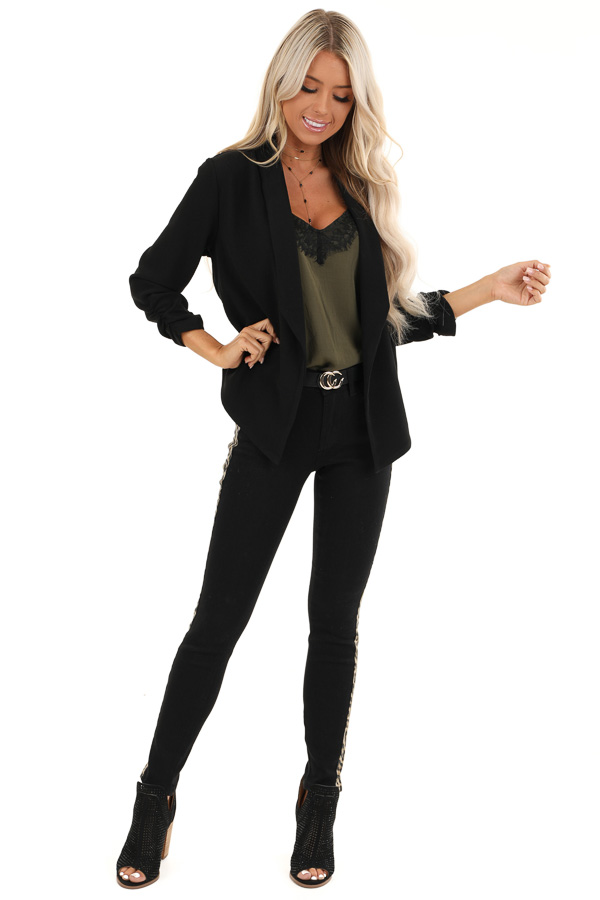 Black Textured Open Front Blazer Jacket with Ruched Sleeves front full body