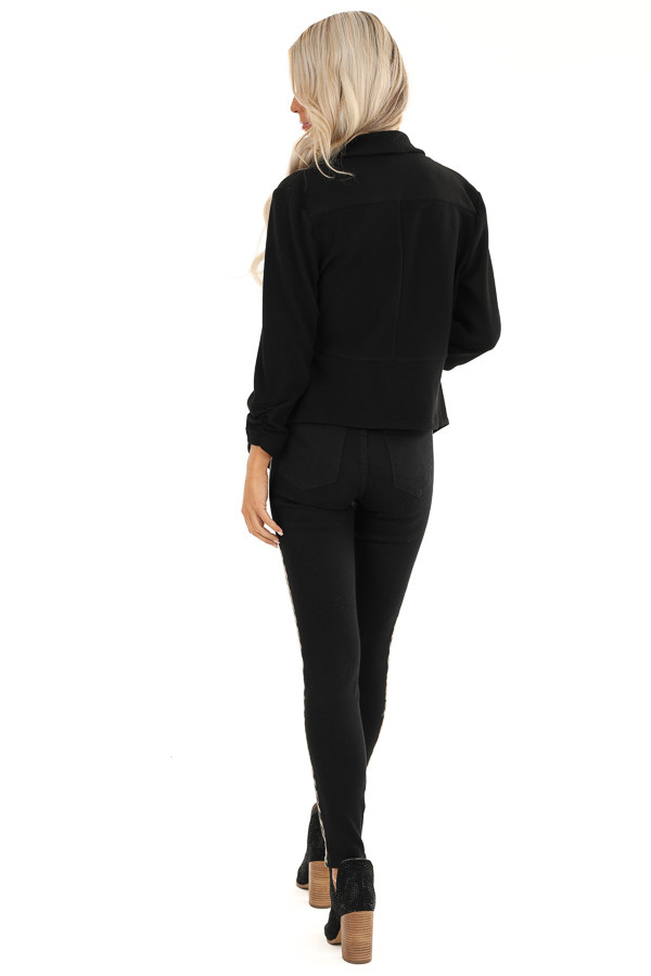 Black Textured Open Front Blazer Jacket with Ruched Sleeves back full body
