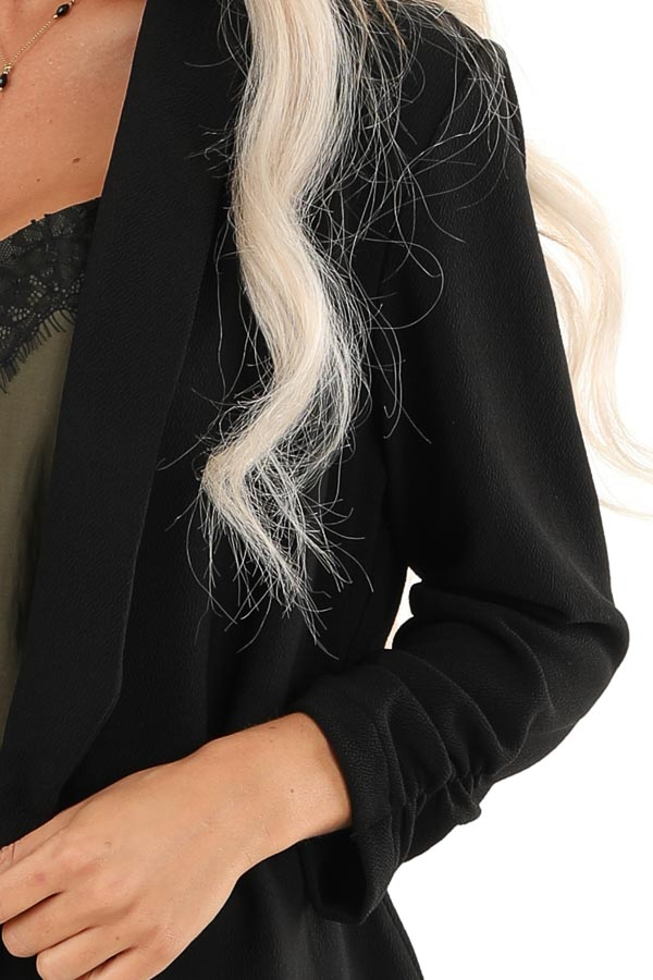 Black Textured Open Front Blazer Jacket with Ruched Sleeves detail