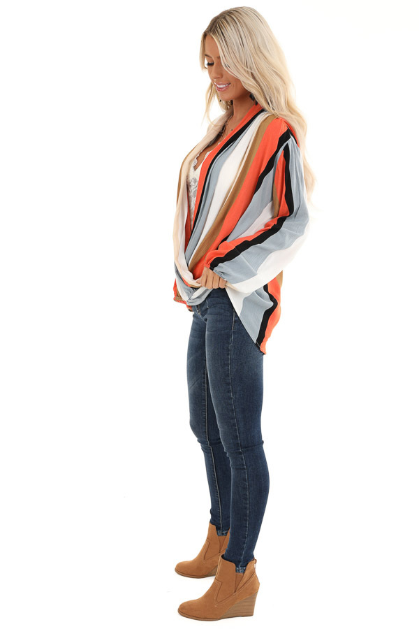 Multi Color Striped Surplice Top with Long Sleeves side full body