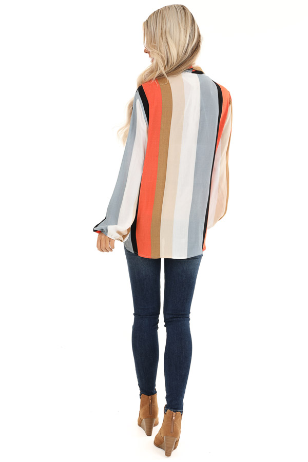 Multi Color Striped Surplice Top with Long Sleeves back full body