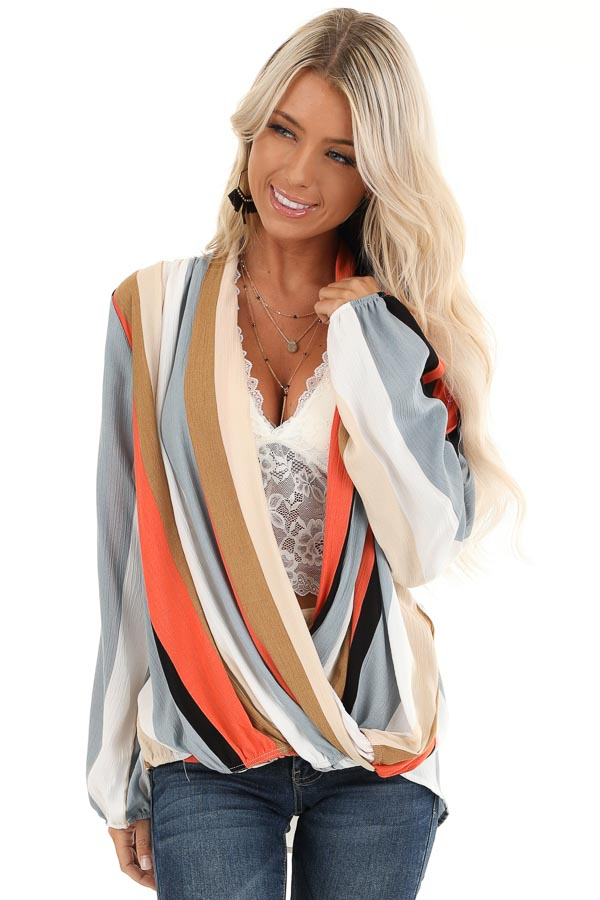 Multi Color Striped Surplice Top with Long Sleeves front close up