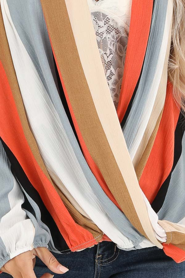 Multi Color Striped Surplice Top with Long Sleeves detail