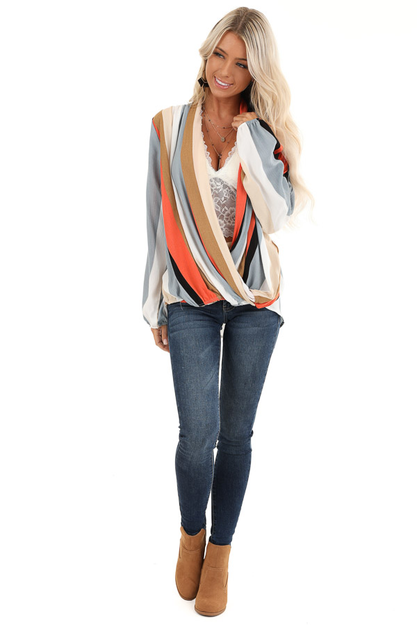 Multi Color Striped Surplice Top with Long Sleeves front full body