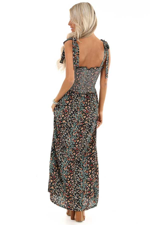 Jet Black Floral Print Smocked Maxi Dress with Tie Details back full body
