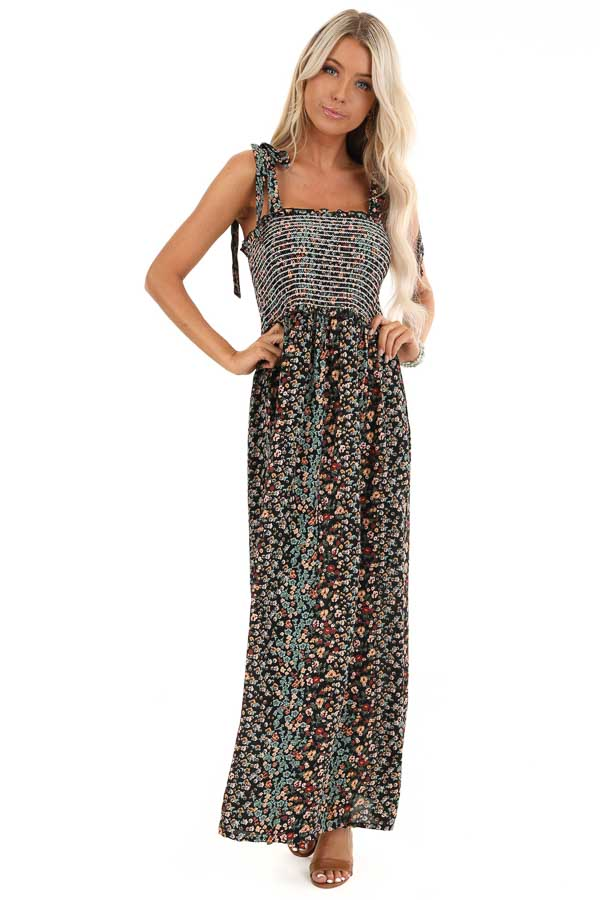Jet Black Floral Print Smocked Maxi Dress with Tie Details front full body
