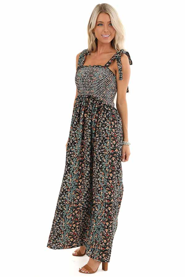 Jet Black Floral Print Smocked Maxi Dress with Tie Details side full body