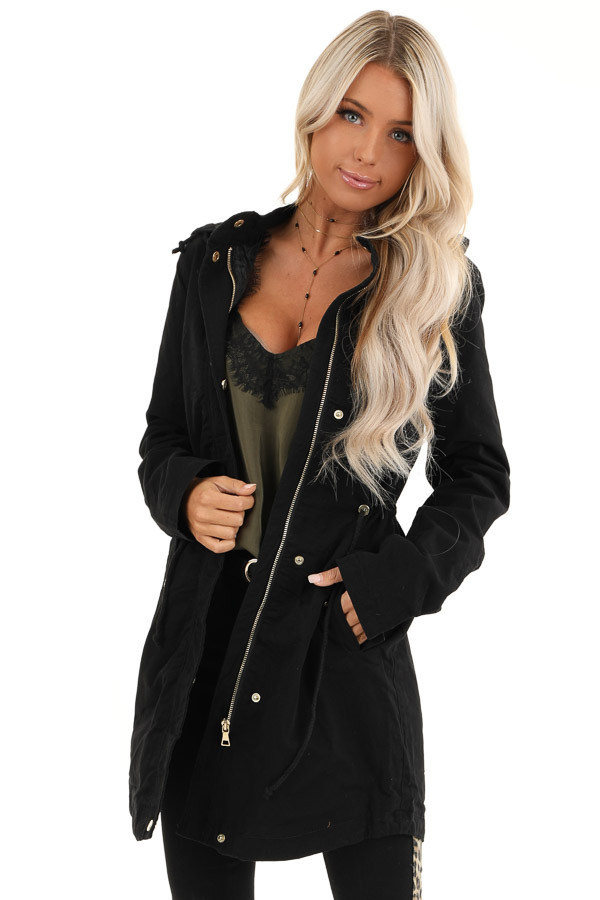 Black Hooded Military Jacket with Gold Button Details front close up