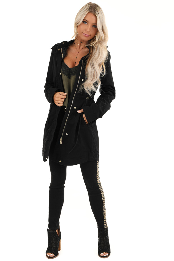 Black Hooded Military Jacket with Gold Button Details front full body
