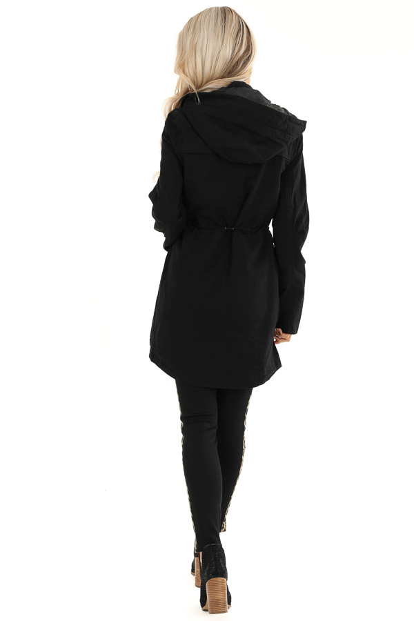 Black Hooded Military Jacket with Gold Button Details back full body
