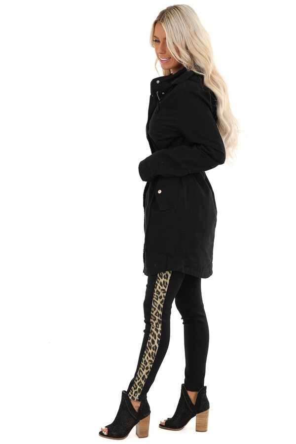 Black Hooded Military Jacket with Gold Button Details side full body