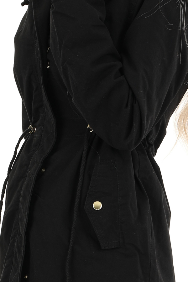 Black Hooded Military Jacket with Gold Button Details detail