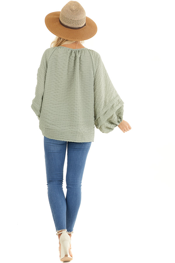 Sage Textured Long Sleeve Loose Fit Blouse with Layered Hem back full body