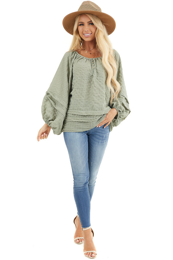 Sage Textured Long Sleeve Loose Fit Blouse with Layered Hem front full body