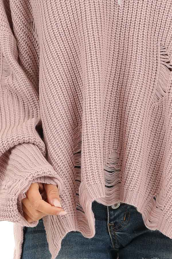 Lilac Long Sleeve Oversized Sweater with Distressed Details detail