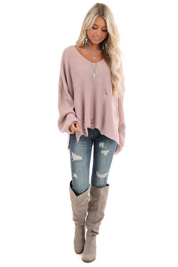 Lilac Long Sleeve Oversized Sweater with Distressed Details front full body