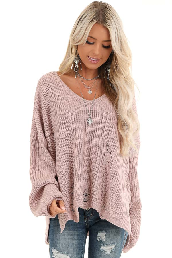 Lilac Long Sleeve Oversized Sweater with Distressed Details front close up