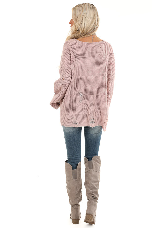 Lilac Long Sleeve Oversized Sweater with Distressed Details back full body
