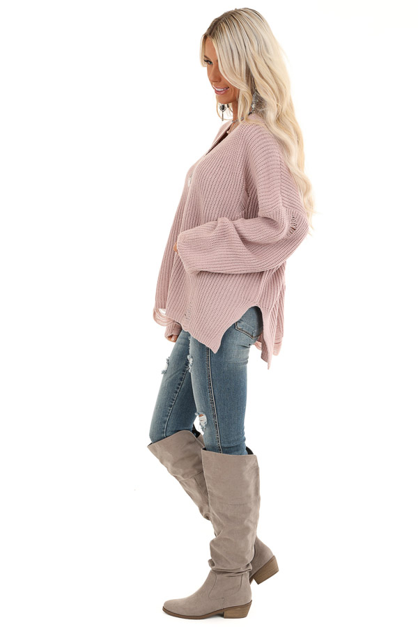 Lilac Long Sleeve Oversized Sweater with Distressed Details side full body