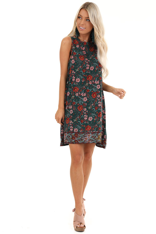Forest Green Floral Print High Neck Sleeveless Swing Dress front full body