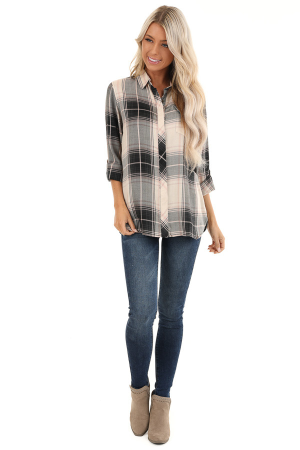 Black and Blush Plaid Button Up Top with Front Pocket front full body
