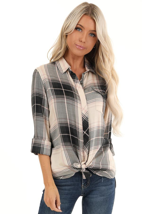 Black and Blush Plaid Button Up Top with Front Pocket front close up