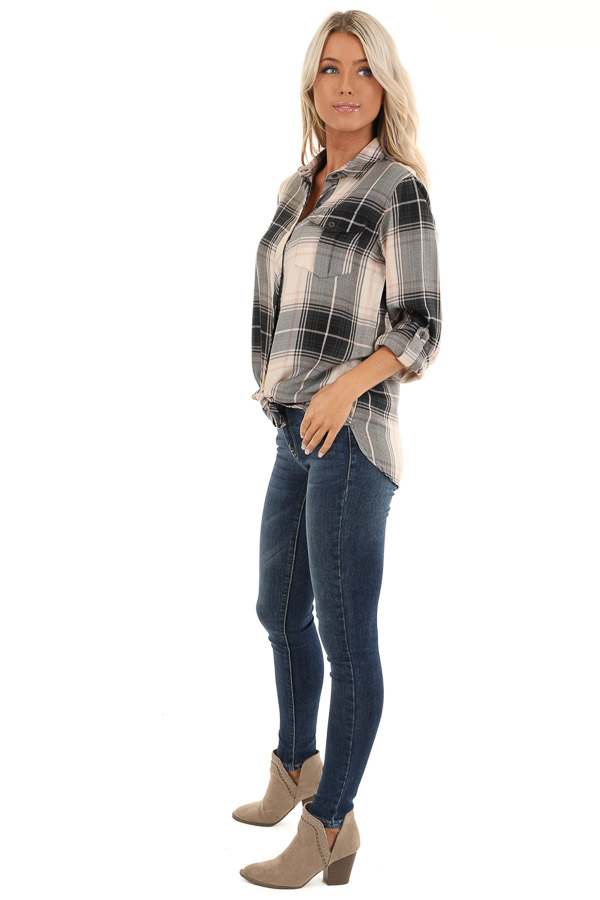 Black and Blush Plaid Button Up Top with Front Pocket side full body