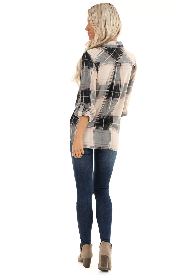 Black and Blush Plaid Button Up Top with Front Pocket back full body