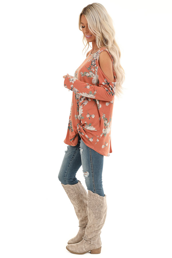 Pumpkin Spice Floral Print Top with Cold Shoulders and Twist side full body