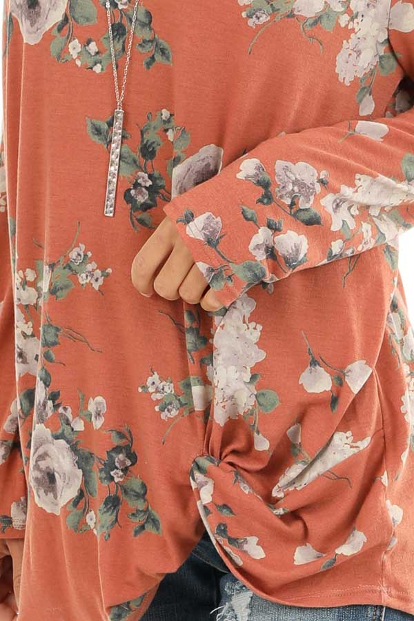Pumpkin Spice Floral Print Top with Cold Shoulders and Twist detail