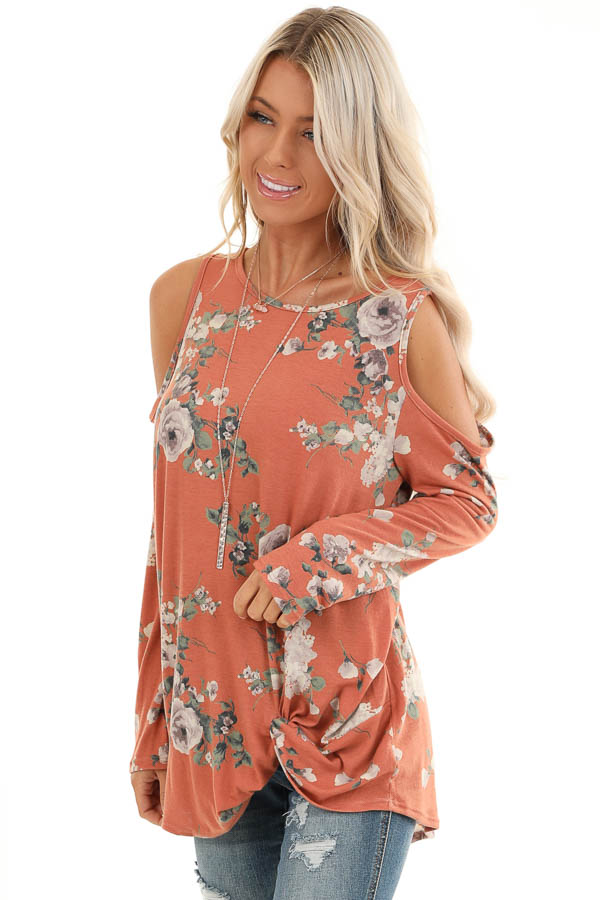 Pumpkin Spice Floral Print Top with Cold Shoulders and Twist front close up