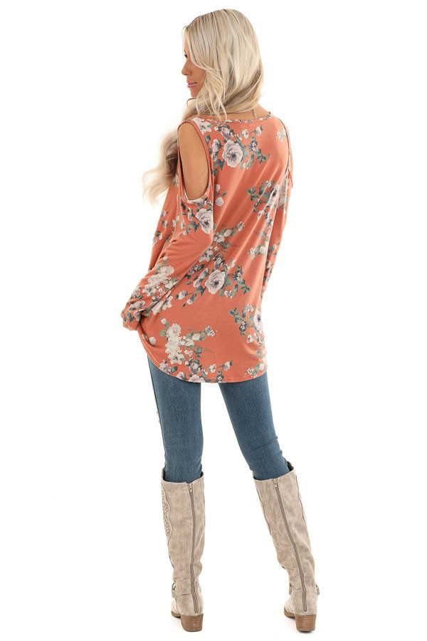 Pumpkin Spice Floral Print Top with Cold Shoulders and Twist back full body