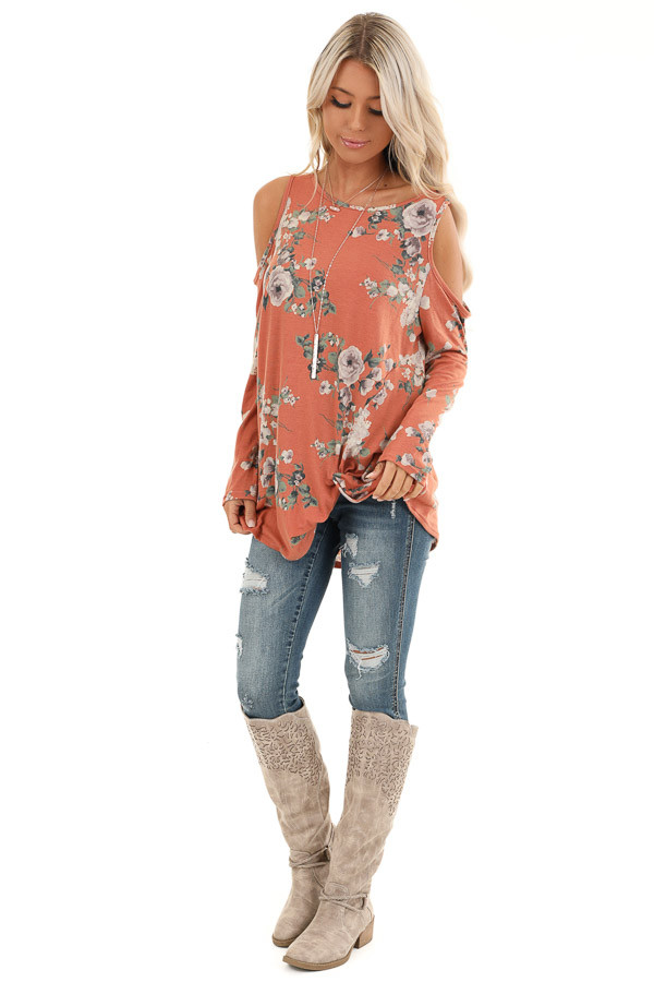 Pumpkin Spice Floral Print Top with Cold Shoulders and Twist front full body