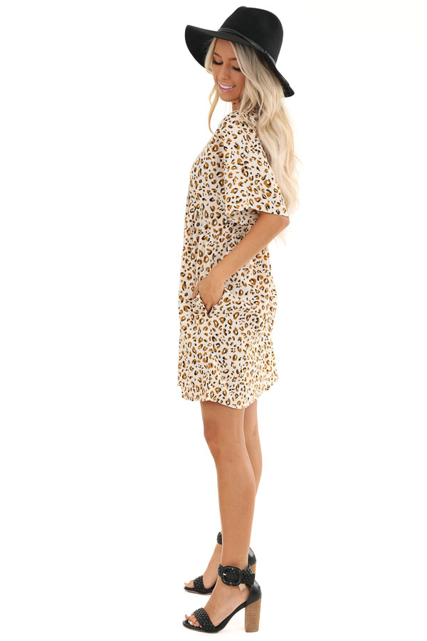 Ivory and Caramel Leopard Print V Neck Babydoll Mini Dress side full body