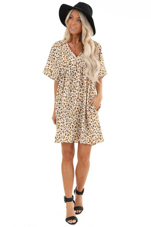 Ivory and Caramel Leopard Print V Neck Babydoll Mini Dress front full body
