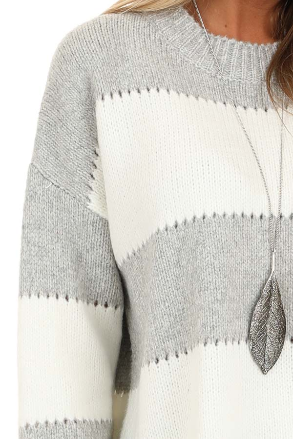 Heather Grey Striped Long Sleeve Knit Sweater detail