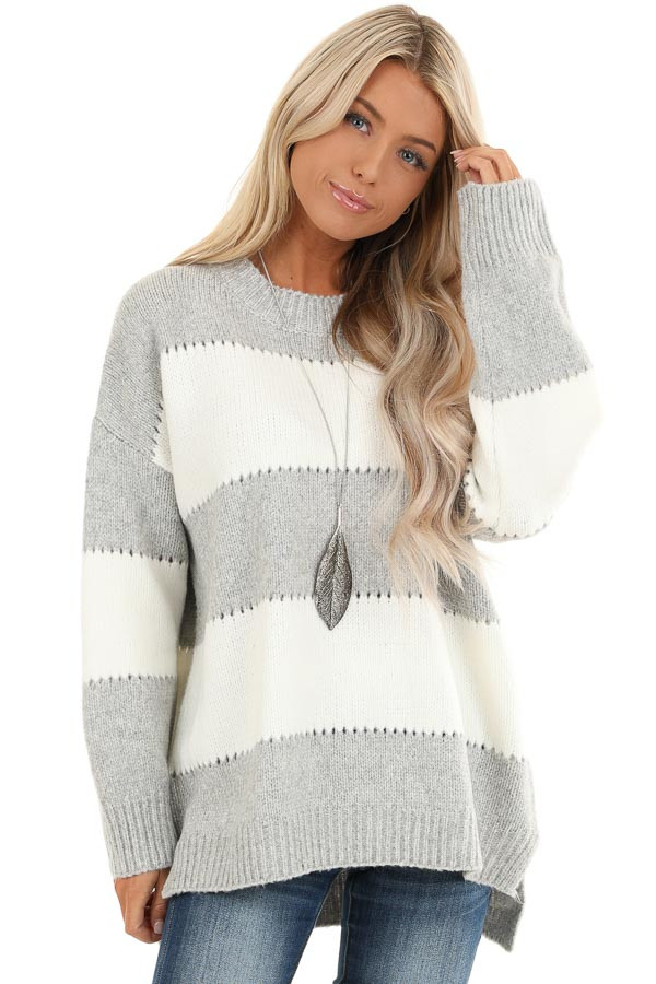 Heather Grey Striped Long Sleeve Knit Sweater front close up