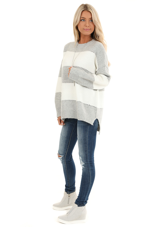 Heather Grey Striped Long Sleeve Knit Sweater side full body